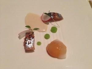 Mackerel and egg with vinaigrette