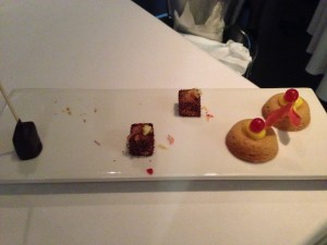 Butter cookied with cream, jell of apple, chocolate ganzche with licorice lollipop