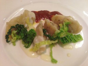 Steamed mutton dumplings, cabbage and pecorino