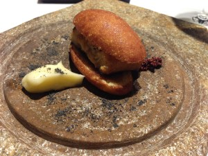ABaC Chinese bread, fried brioche, roasted eel, smoked alioli and Japanese mustard
