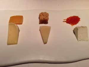 (3 cheeses) Serra Del Tormo, Altejo, Petitot with quince, almond and carrot