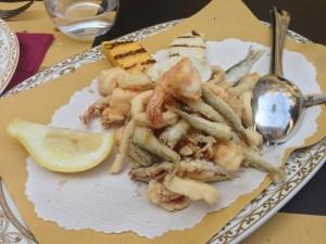 Fritto misto with polenta