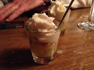 Pineapple, crumble and grappa foam