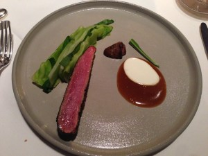 In melilot roasted duck, pointed cabbage, ramson, sour cream