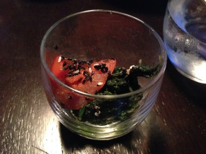 Amuse bouche of spinach and tomato