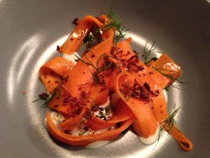 Langoustine, carrot and dill with crispy rye bread topping