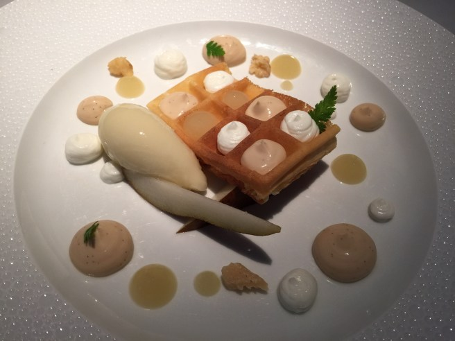 Williams pear, waffles, walnuts and goat's milk caramel.  It was delicious!