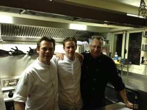 The evening's chefs, Rogier van Dam is on the left