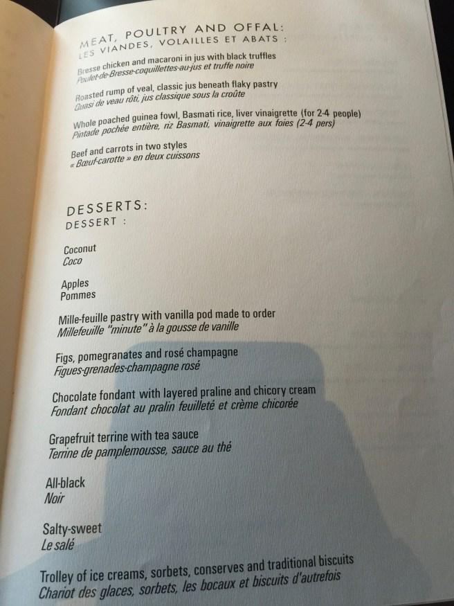main course and dessert menu