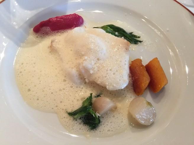 cod fish, squash gnocchi, rutabega puree and turnip