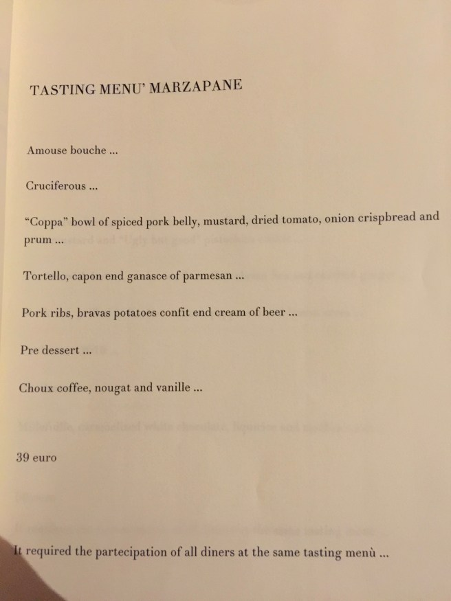 tasting menu Marzapane