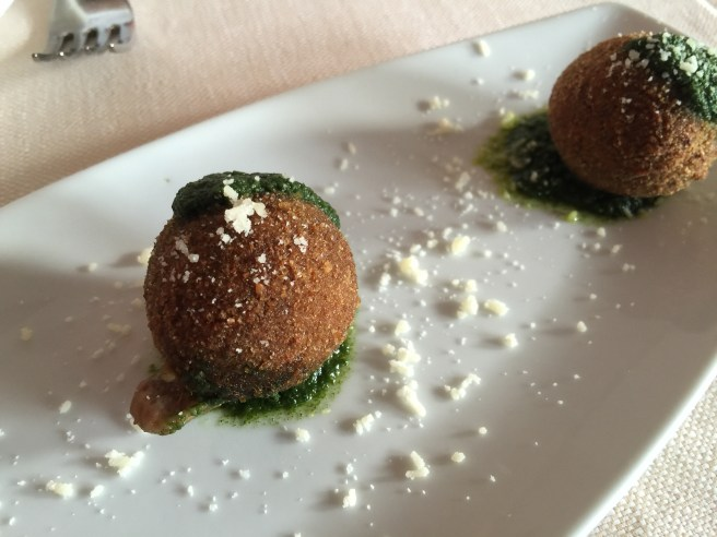 Polpette: fried meatballs with pesto