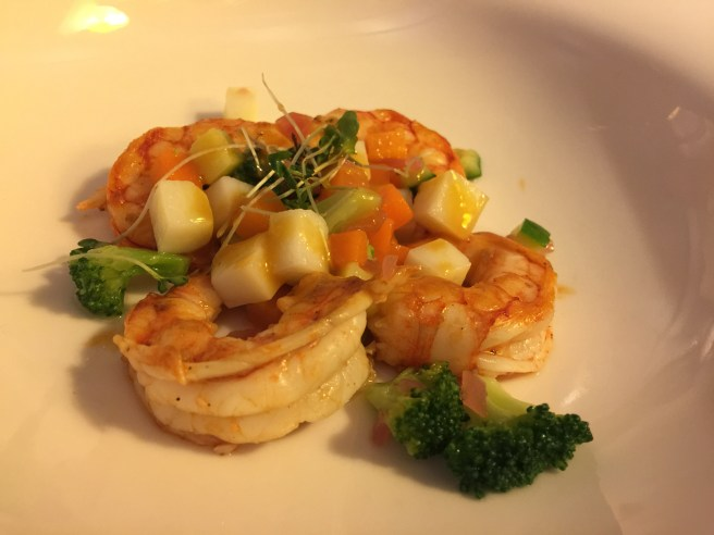 Bouillabaisse of roasted tiger prawns and sauteed vegetables