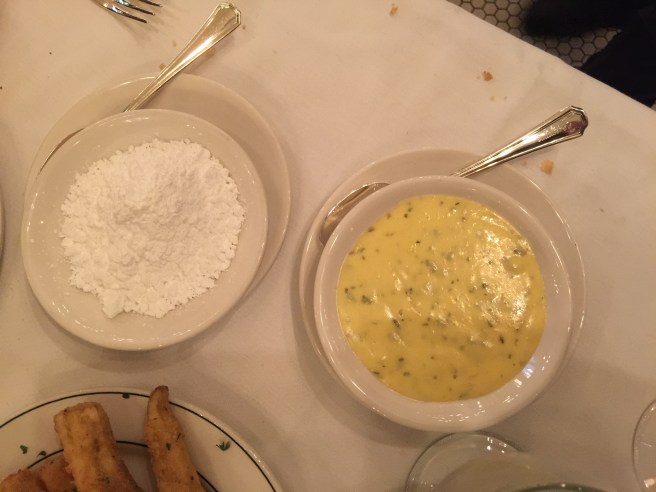 for dipping - powdered sugar and hollandaise