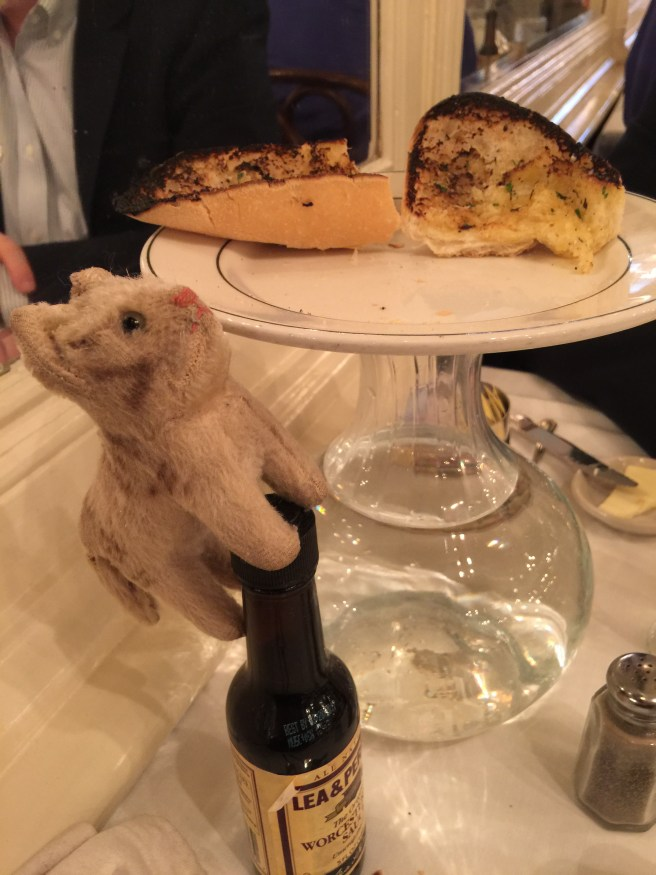 Frankie climbed up to check out the garlic bread