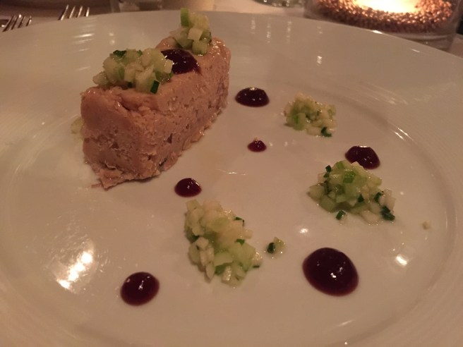 Daube glace of foie gras and duck with apple, celery and cranberry (dots)