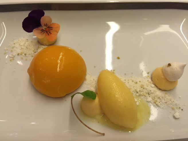 Mango mousse with passion fruit sorbet
