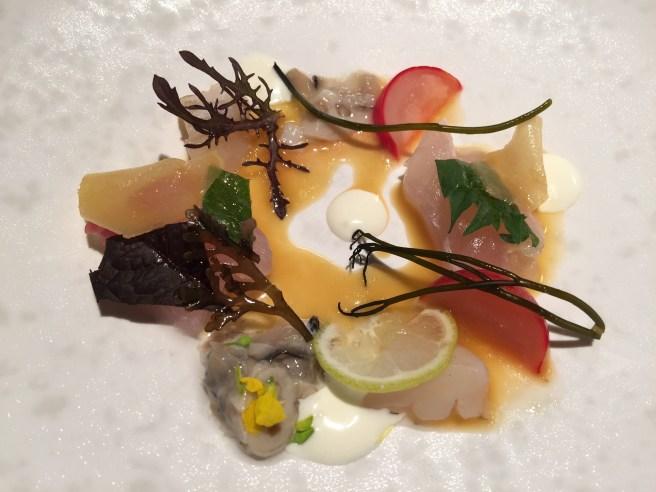 Marinated sea bream, horseradish and ginger