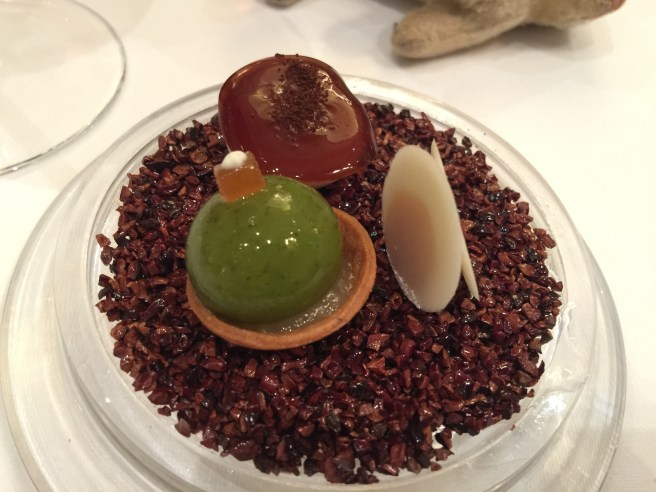 pear tart, shiso wafer and pear, meraingue with lemon sorbet on faux chocolate