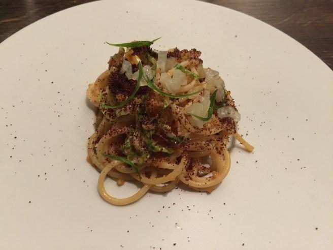 Shrimp roe noodles, lettuce, roasted hen jus