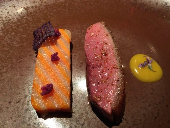 Roast duck, spiced orange confit, yam and chevre pavé