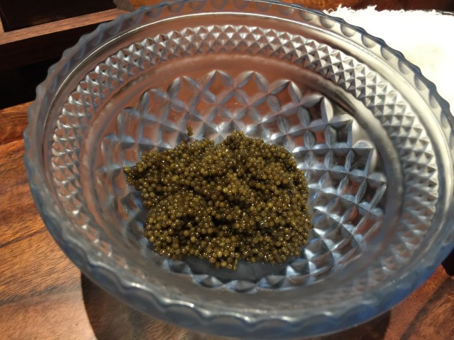 Saison reserve caviar, cured with smoked salt