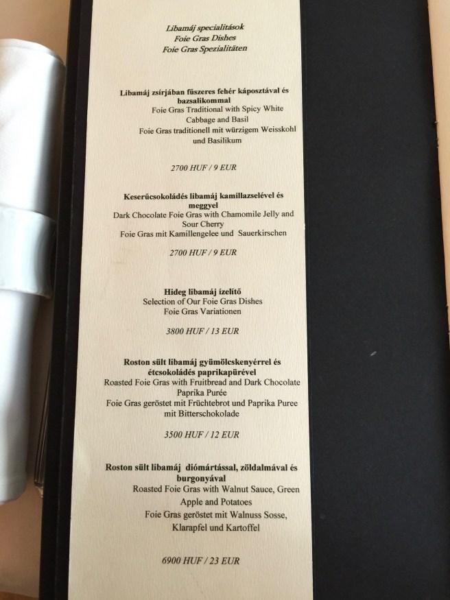 foie gras menu