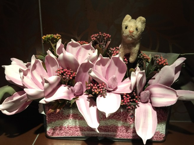 Frankie even likes fake flowers