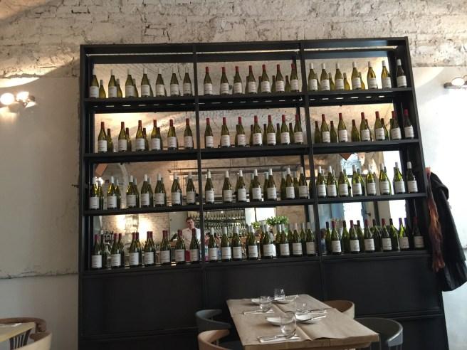 wine display in room