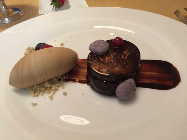 Chocolate cake, chocolate ice cream with cookies