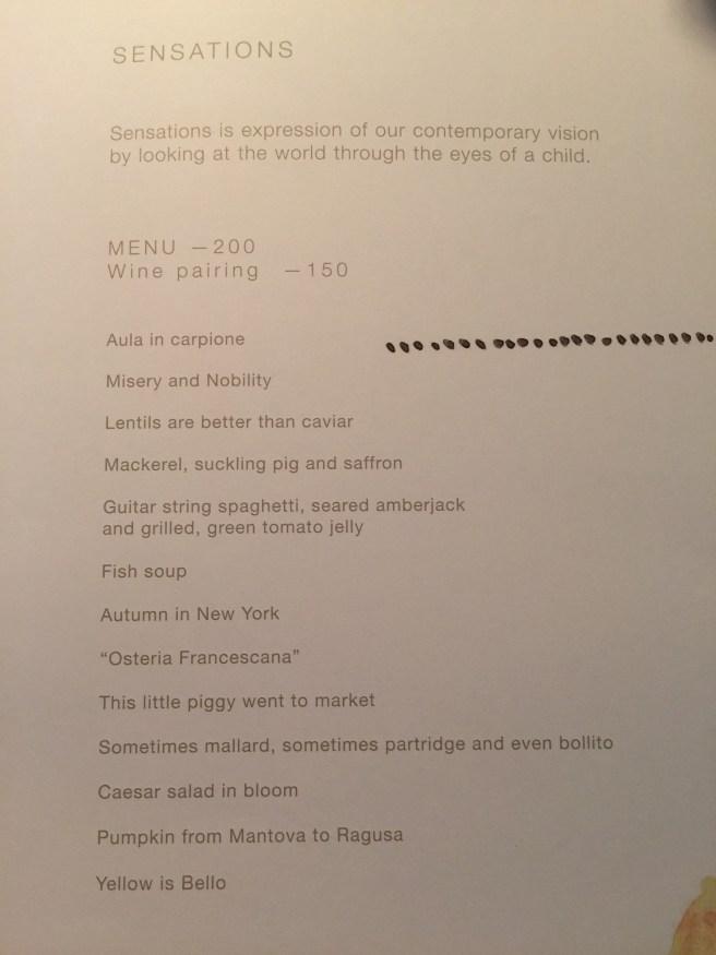 Sensations tasting menu
