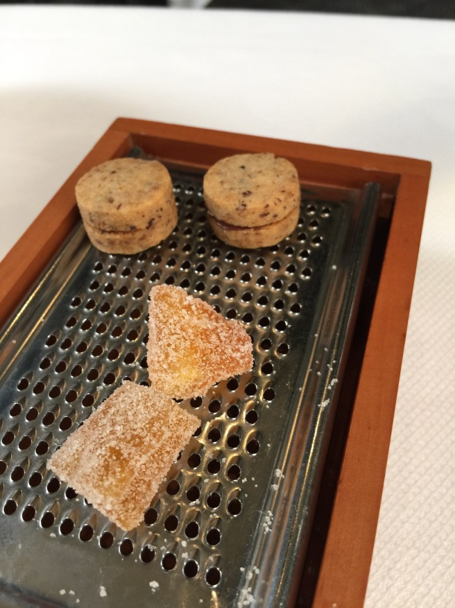 Cantaloupe, dehydrated and sugared and cookie with chocolate