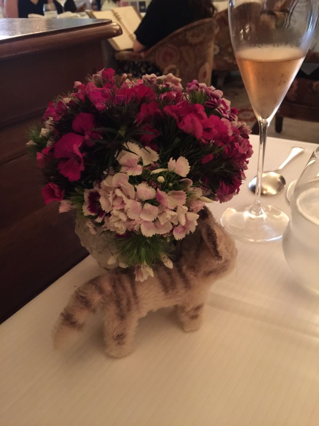 Frankie checked out the table flowers