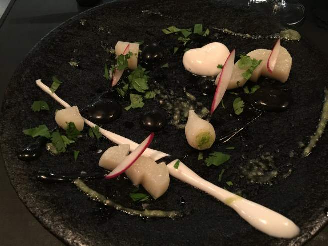Turnip with chilmole and coconut crema