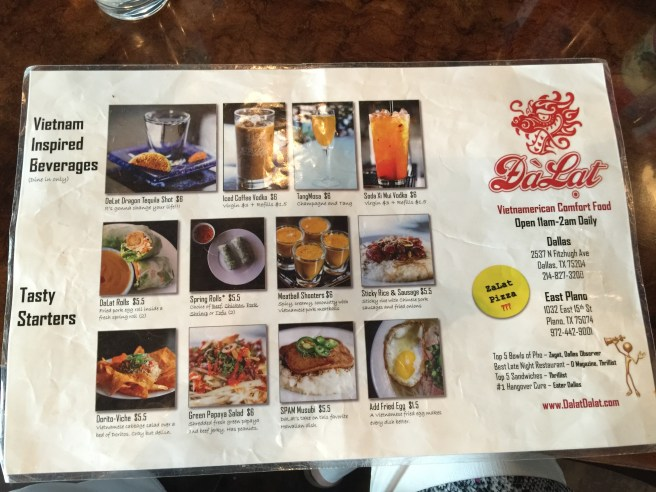 Beverage and starter menu