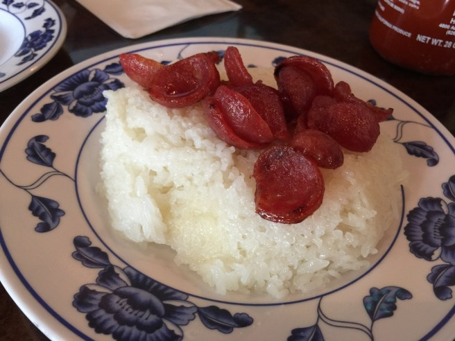 Sticky rice with Chinese pork sausage