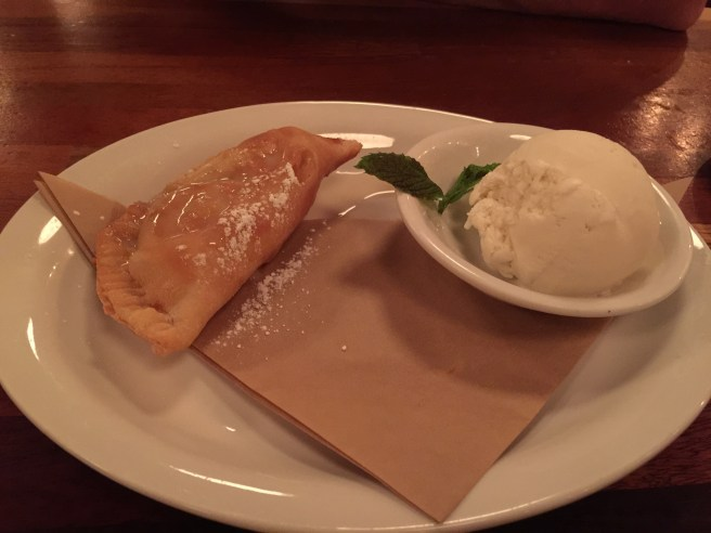 Fried apple pie with bourbon and Fred's vanilla ice cream