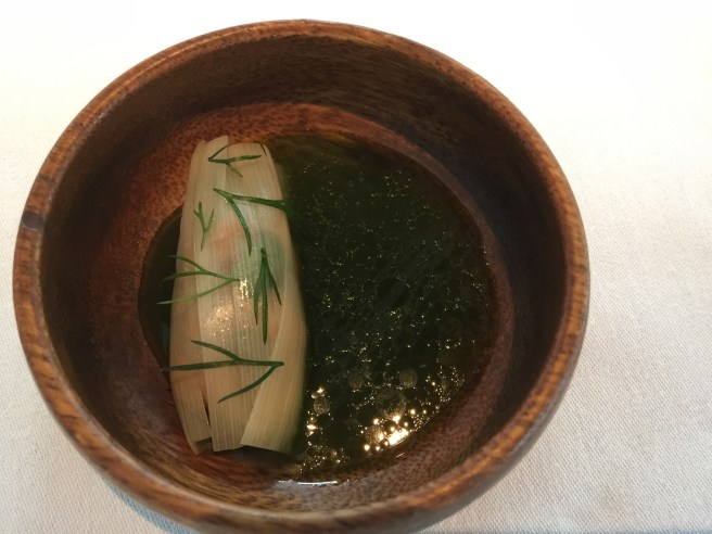 Fermented trout with grilled leek and spring lettuce