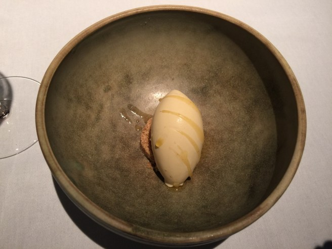 Brown butter ice cream with molasses and roasted hazelnuts