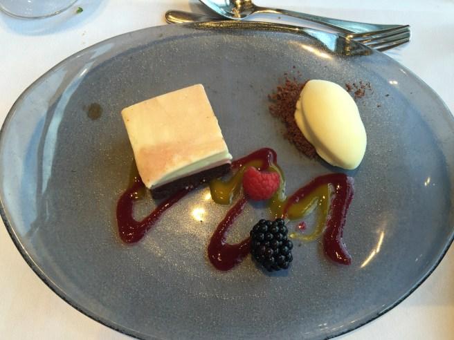 Strawberry, white chocolate and chocolate dessert