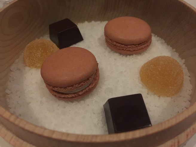 pineapple jelly, chocolates, peach macaroon