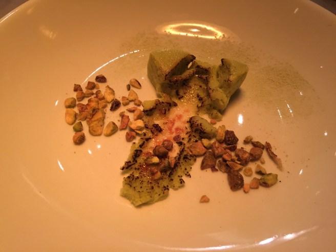 Green tea custard brulee, pistachio, matcha