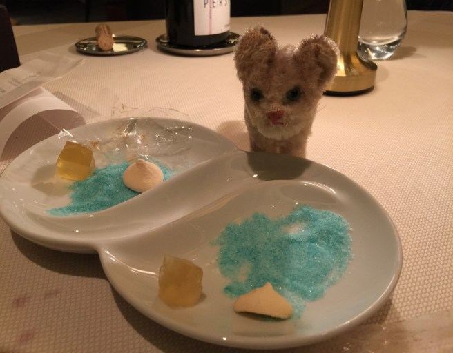 Frankie wanted to lick up the blue sugar