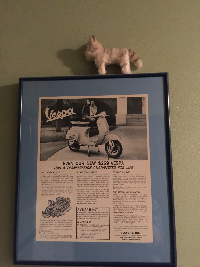 Frankie posed with the Vespa ad