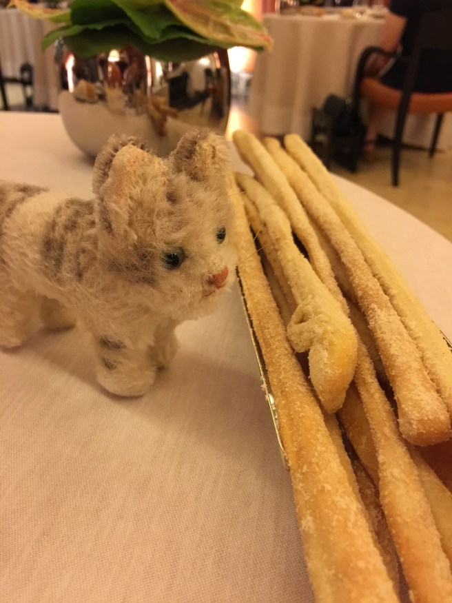 Frankie  checked out the breadsticks