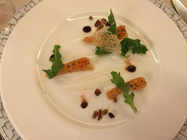 Santa Margherita prawns, Parmigiano Reggiano, arugula and balsamic vinegar