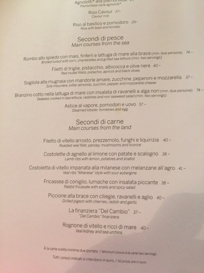 second course menu