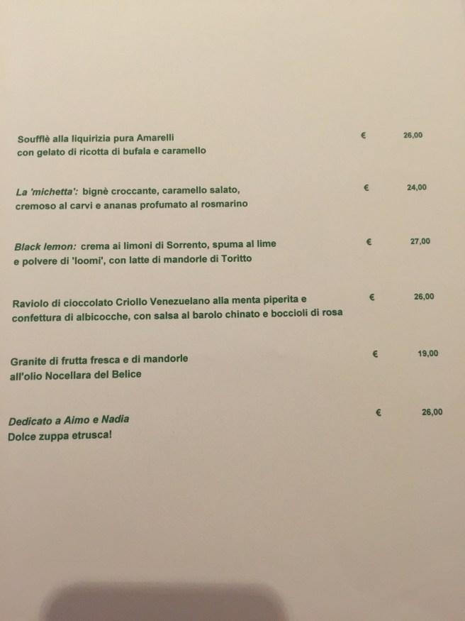 Dessert menu, Italian