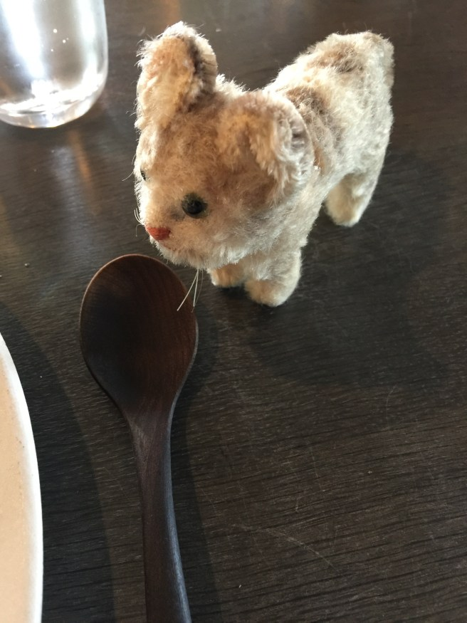 Frankie was fascinated by the wooden cutlery