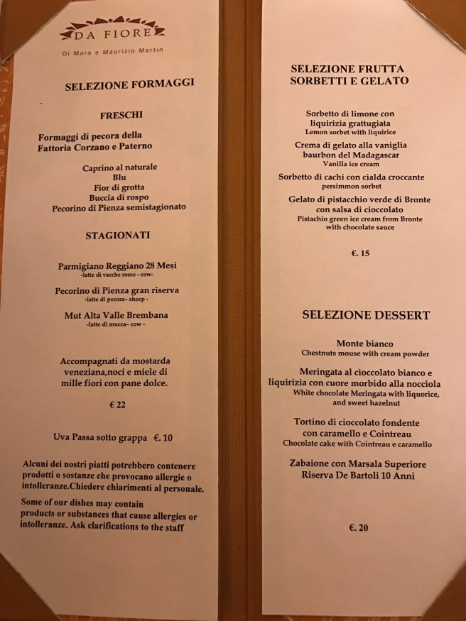 Cheese and dessert menu
